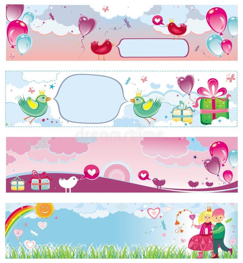 Conjunto de las banderas 3 del día de tarjeta del día de San Valentín libre illustration
