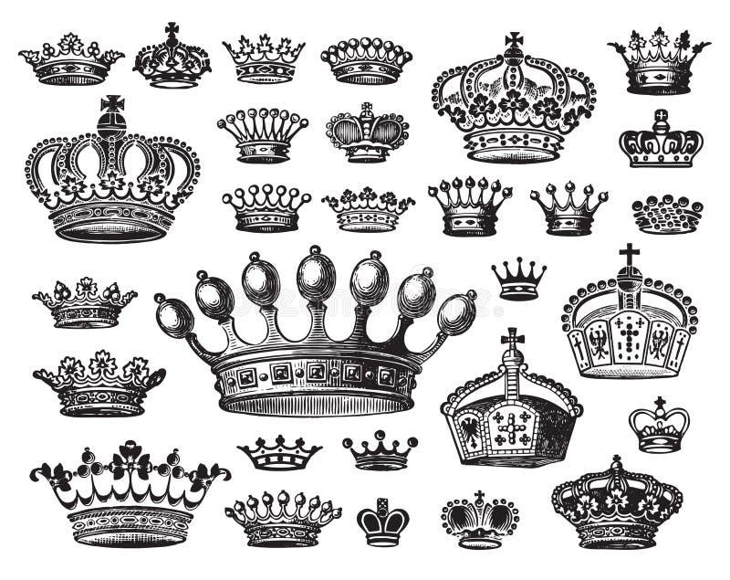 Conjunto de las coronas antiguas (vector) stock de ilustración
