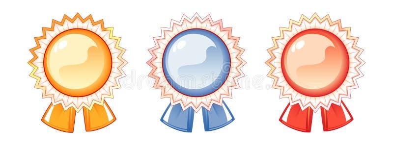 Conjunto de las escrituras de la etiqueta de las concesiones, tres colores ilustración del vector