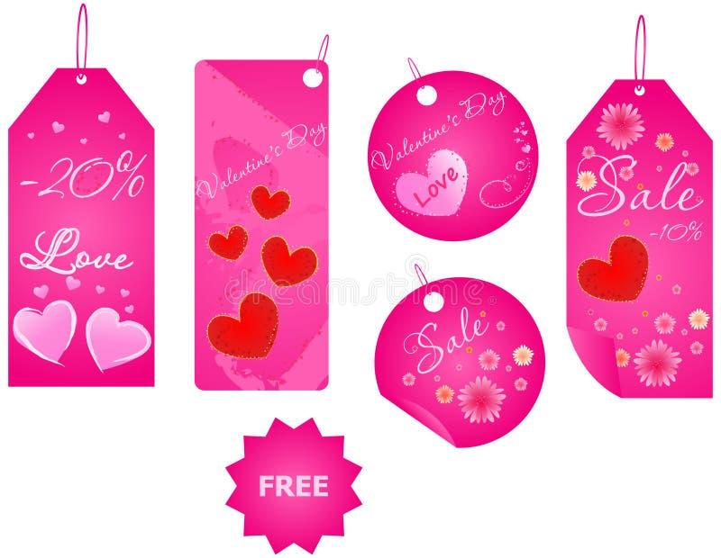 Conjunto de las escrituras de la etiqueta del día de tarjeta del día de San Valentín ilustración del vector