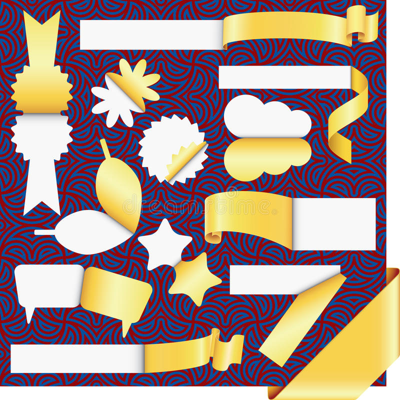 Conjunto de las etiquetas engomadas y de escrituras de la etiqueta del oro ilustración del vector
