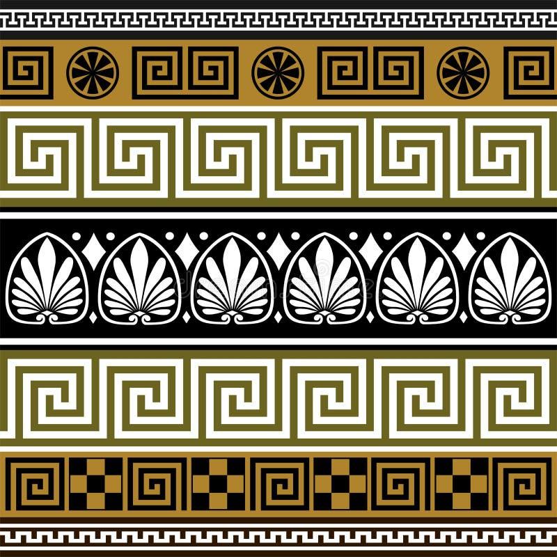 Conjunto de las fronteras griegas stock de ilustración
