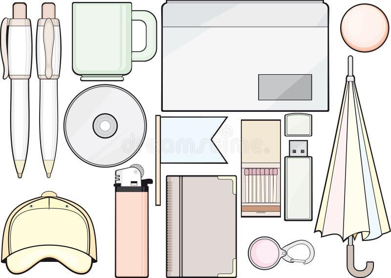Conjunto de las fuentes y del modelo de oficina libre illustration