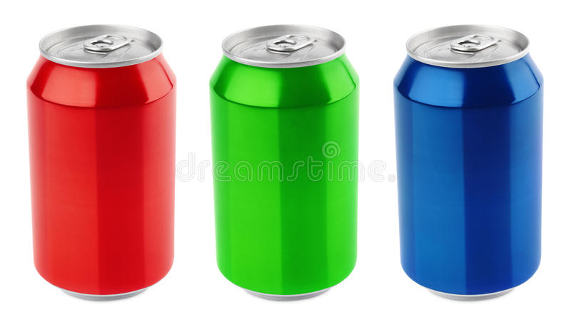 Conjunto de las latas de aluminio foto de archivo