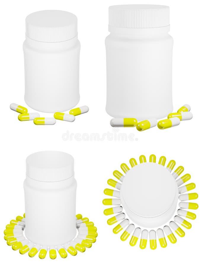 Conjunto de las píldoras de la cápsula y de la botella plástica blanca. imagenes de archivo
