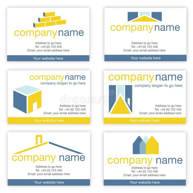 Conjunto de las propiedades inmobiliarias seises o de las tarjetas de visita de los constructores ilustración del vector