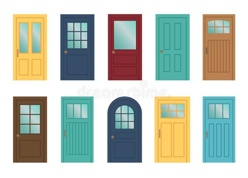 Conjunto de las varias puertas en el fondo blanco stock de ilustración