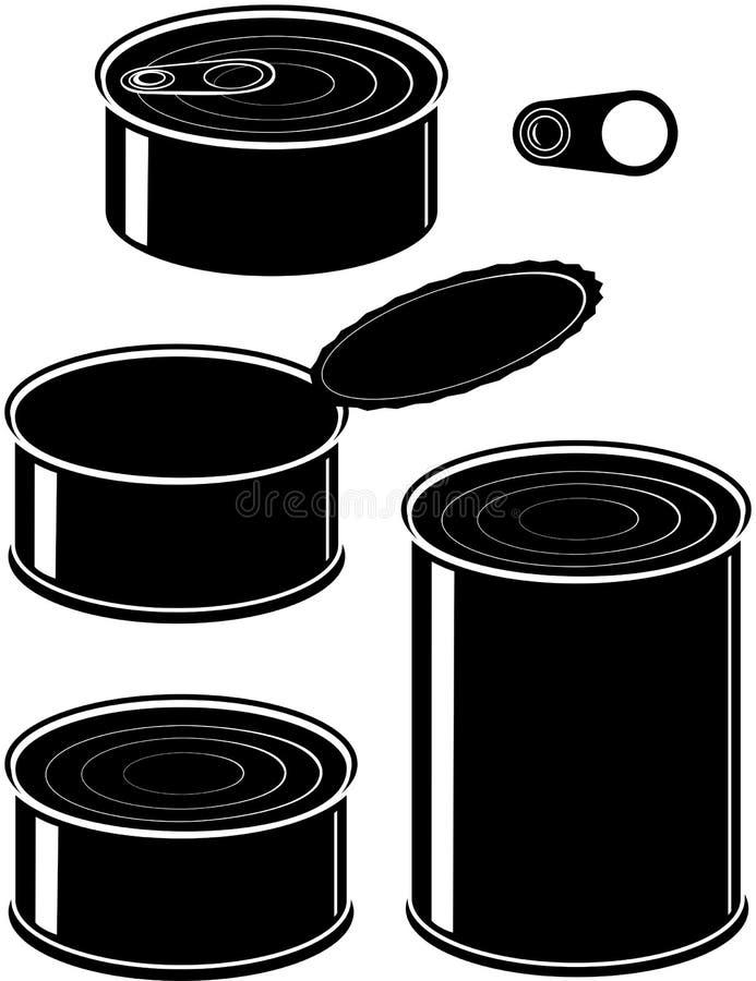 Conjunto de latas - alimento conservado stock de ilustración