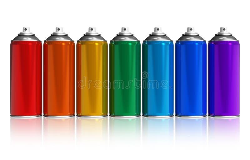 Conjunto de latas de aerosol de la pintura del arco iris stock de ilustración