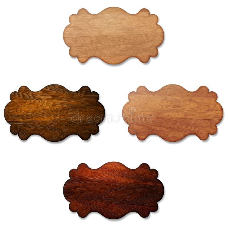 Conjunto de letreros de madera stock de ilustración