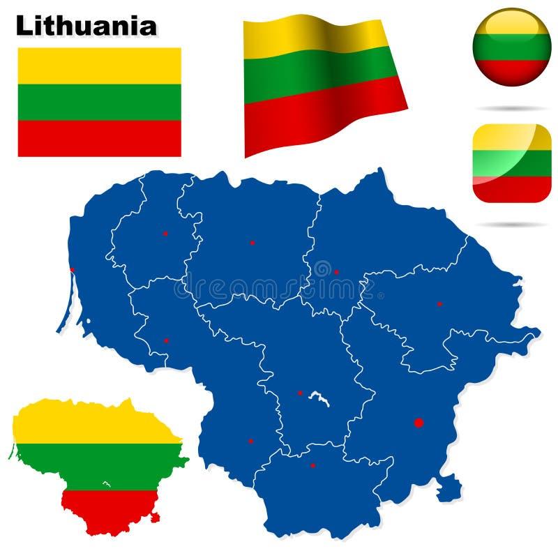 Conjunto de Lituania. stock de ilustración
