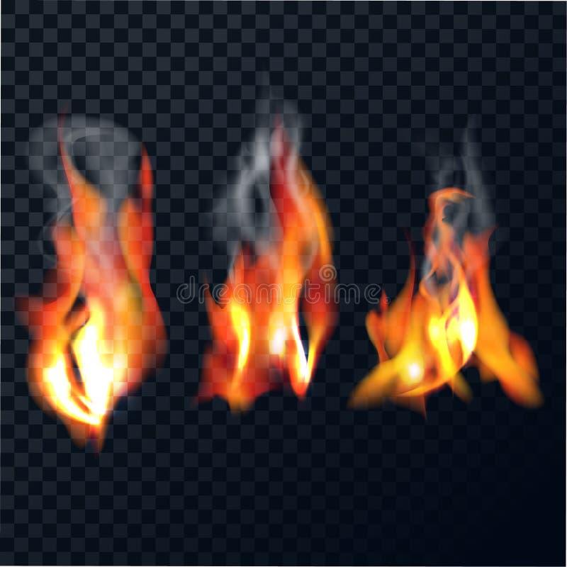 Conjunto de llamas ilustración del vector