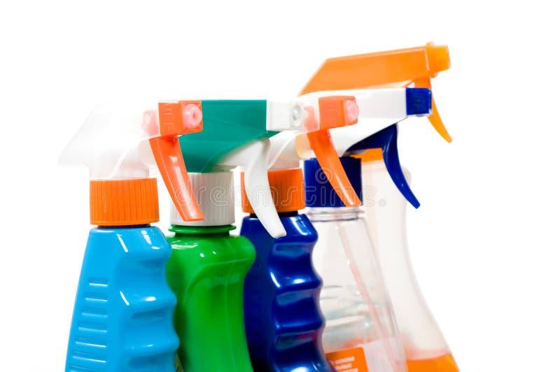 Conjunto de los aerosoles para la limpieza. foto de archivo