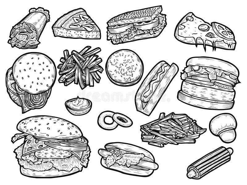Conjunto de los alimentos de preparación rápida stock de ilustración