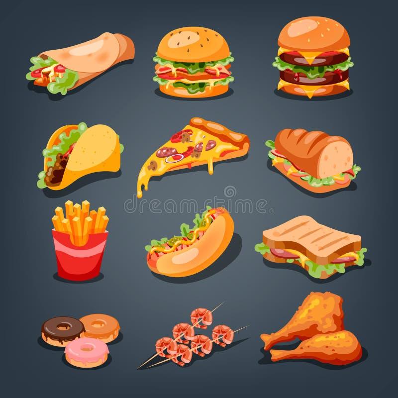 Conjunto de los alimentos de preparaci?n r?pida Colección de bocado sabroso Pizza y hamburguesa ilustración del vector