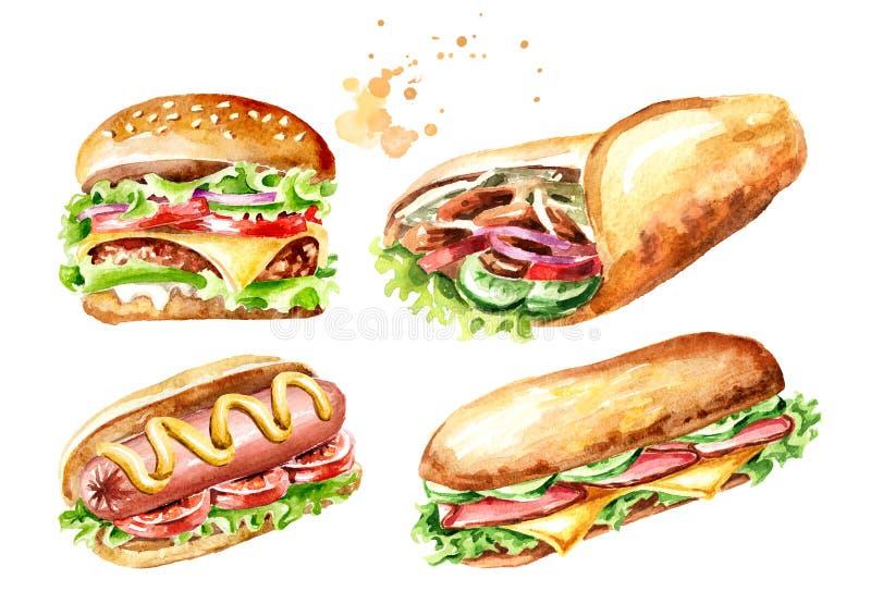 Conjunto de los alimentos de preparaci?n r?pida Hamburguesa, kebab de Doner, bocadillo, perrito caliente Ejemplo dibujado mano de ilustración del vector