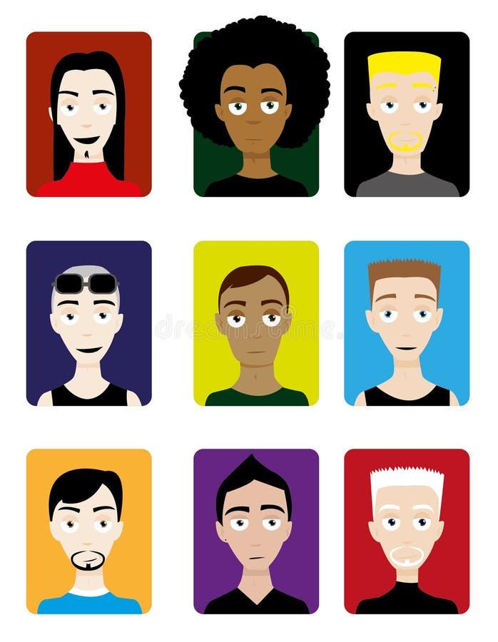 Conjunto de los avatares masculinos stock de ilustración