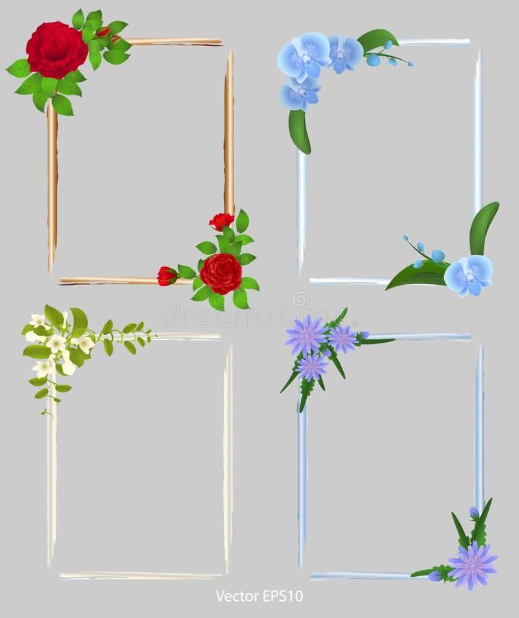 Conjunto de los bastidores para las fotos Adornado con las flores ilustración del vector