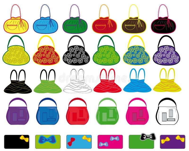 Conjunto de los bolsos de las señoras multicoloras. stock de ilustración