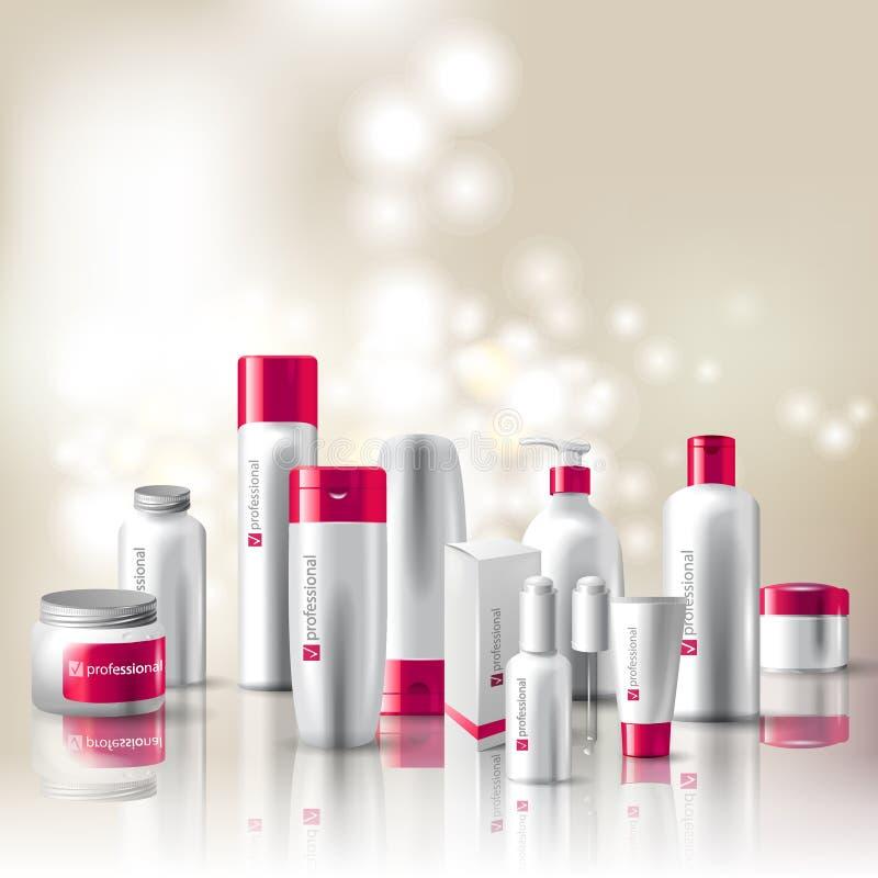 Conjunto de los cosméticos ilustración del vector