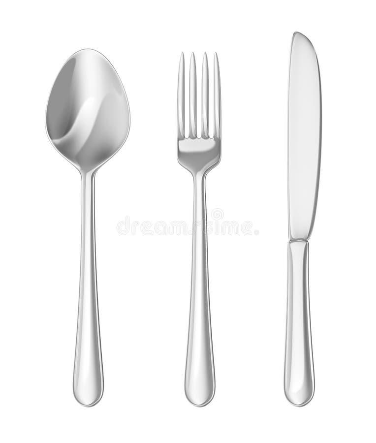 Conjunto de los cubiertos. Cuchara, fork, cuchillo stock de ilustración