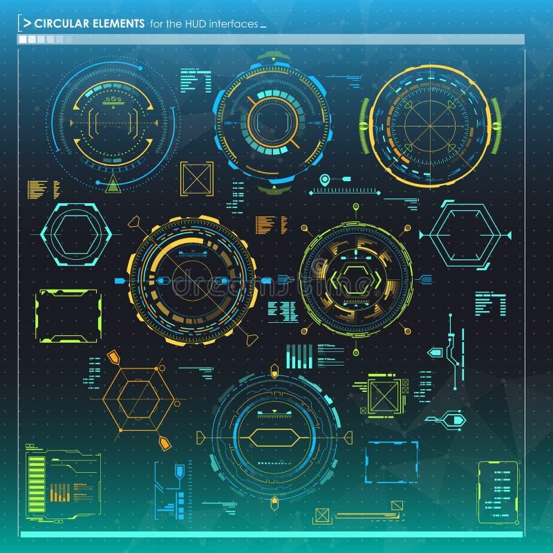 conjunto de los elementos de Infographic Elementos circulares de la exhibición de la cabeza-para arriba para el web y el app Inte ilustración del vector