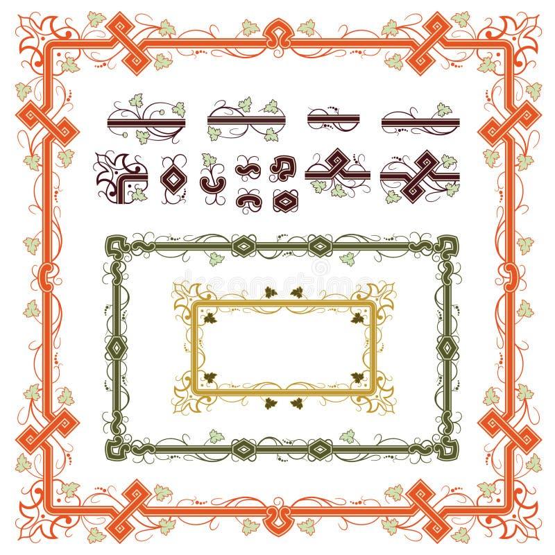 Conjunto de los elementos de las plantas para el diseño stock de ilustración