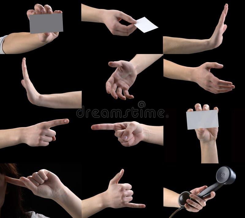 Conjunto de los gestos, manos, dedos fotos de archivo libres de regalías