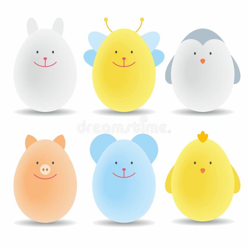 Conjunto de los huevos de Pascua del color libre illustration