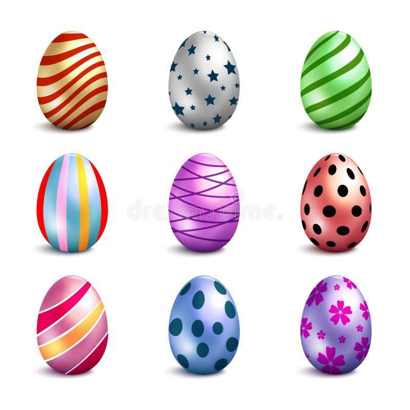 Conjunto de los huevos de Pascua del color ilustración del vector