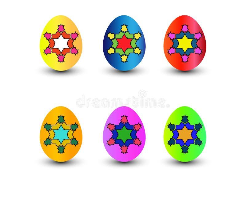 Conjunto de los huevos de Pascua del color Ilustración del vector libre illustration