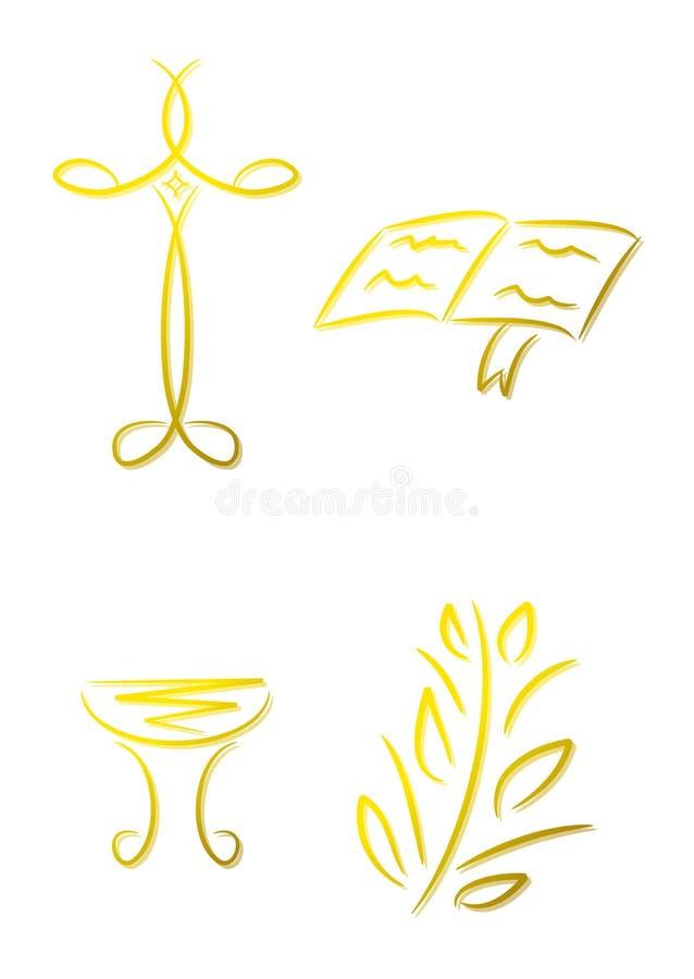 Conjunto de los iconos cristianos (oro) libre illustration