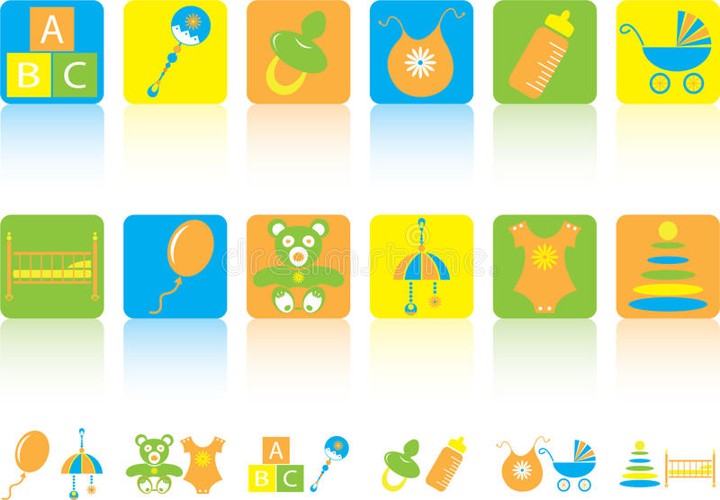 Conjunto de los iconos de los niños fotos de archivo
