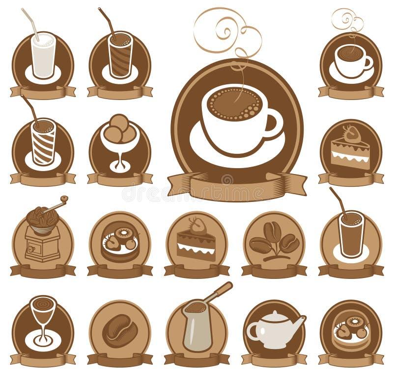 Conjunto de los iconos para la cafetería ilustración del vector
