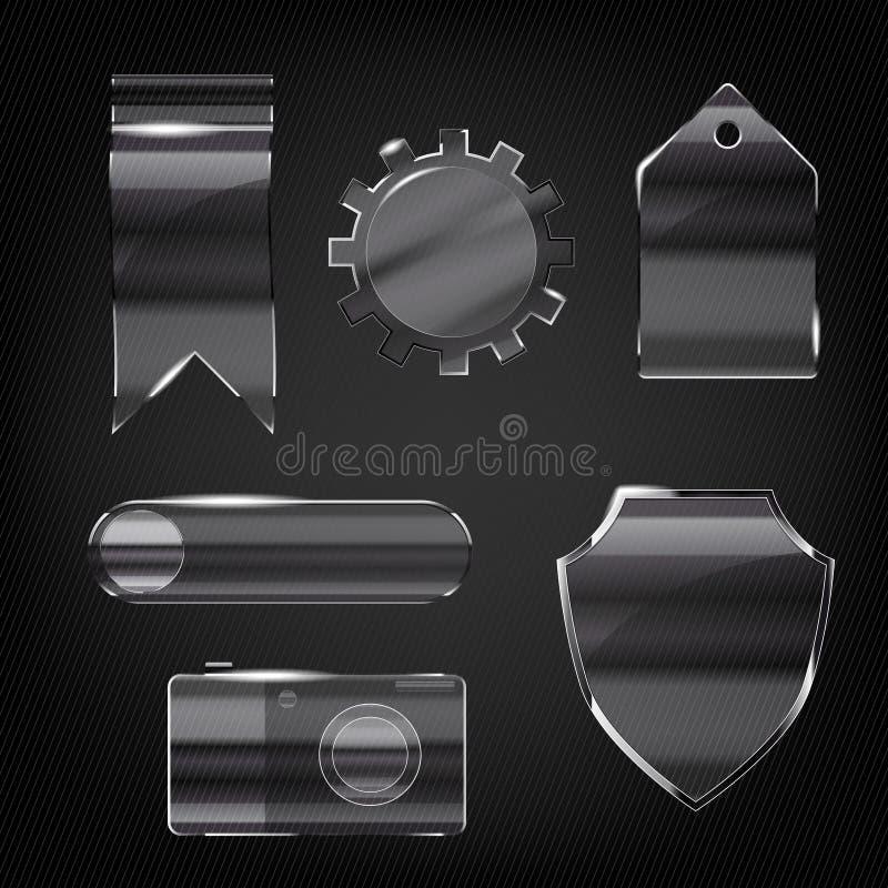 Conjunto de los iconos transparentes de cristal libre illustration