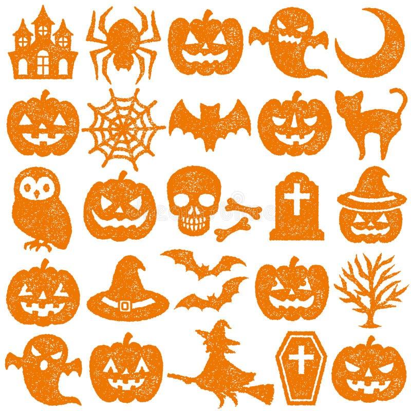 Conjunto de los iconos de Víspera de Todos los Santos Conjunto del sello ilustración del vector