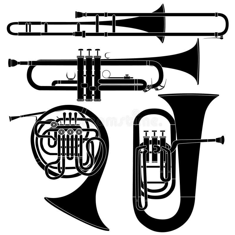 Conjunto De Los Instrumentos Musicales De Cobre Amarillo En Vector Imagenes de archivo