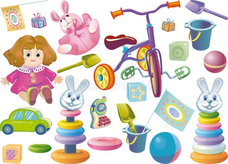 Conjunto de los juguetes de los niños ilustración del vector