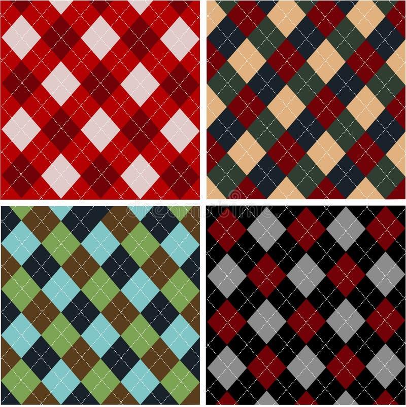 Conjunto de los modelos de la tela escocesa, algodones stock de ilustración