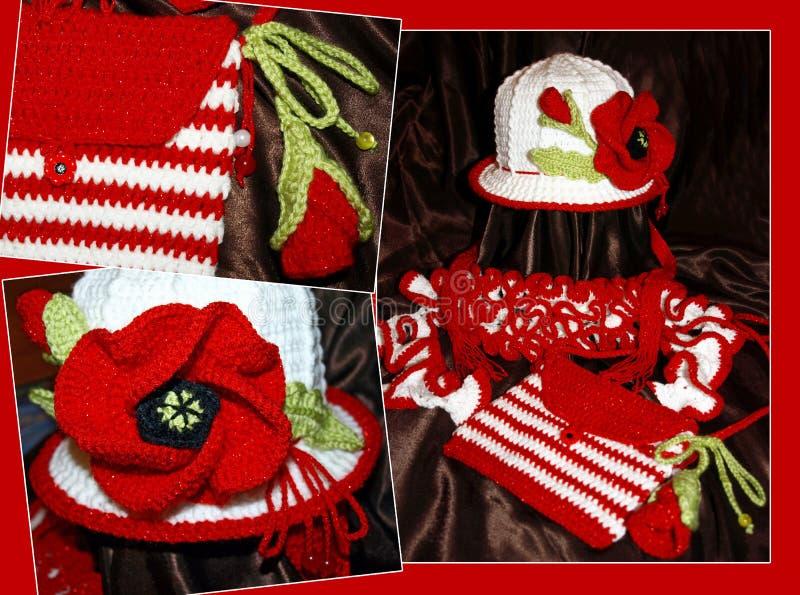 Conjunto de los niños crocheted - sombrero, bufanda, bolso imagen de archivo libre de regalías