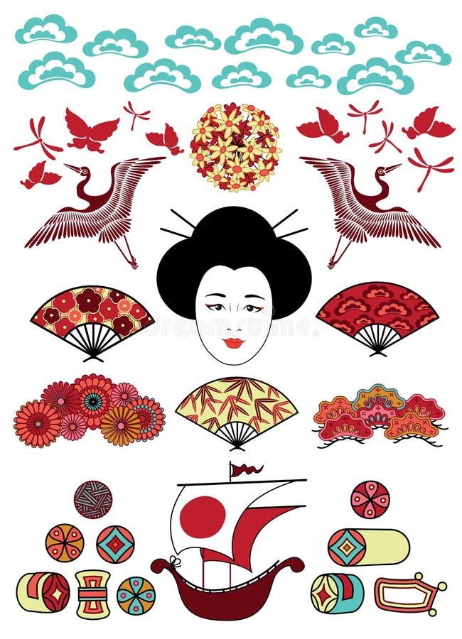 Conjunto de los ornamentos de Japón stock de ilustración