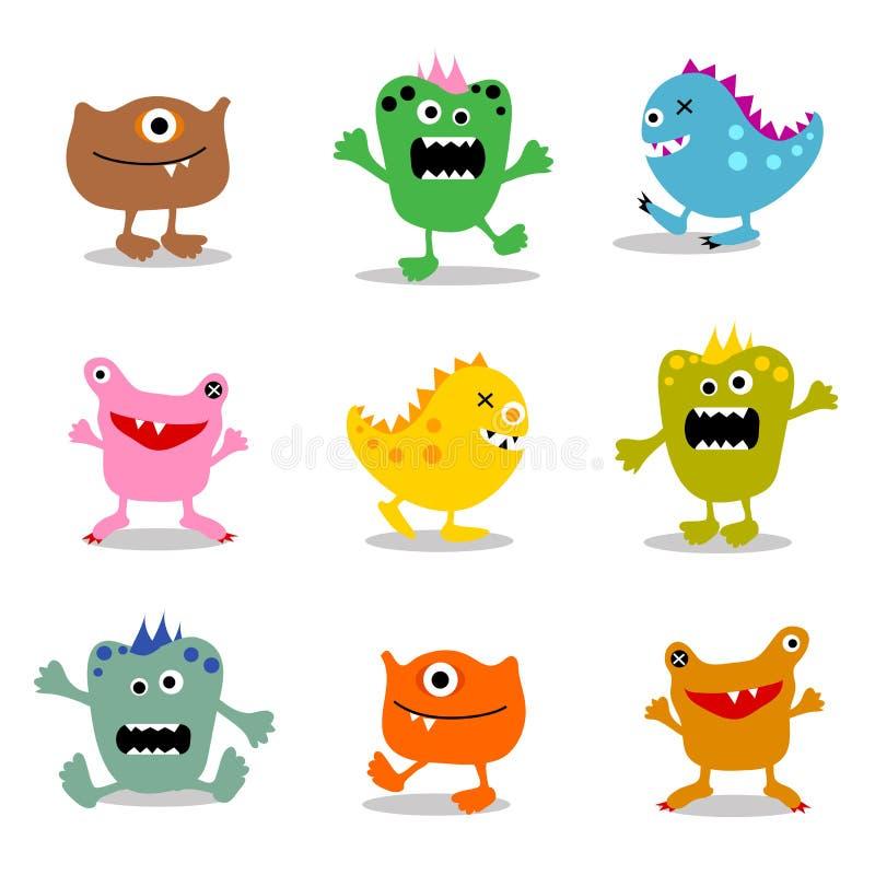 Conjunto de los pequeños monstruos lindos 1 ilustración del vector