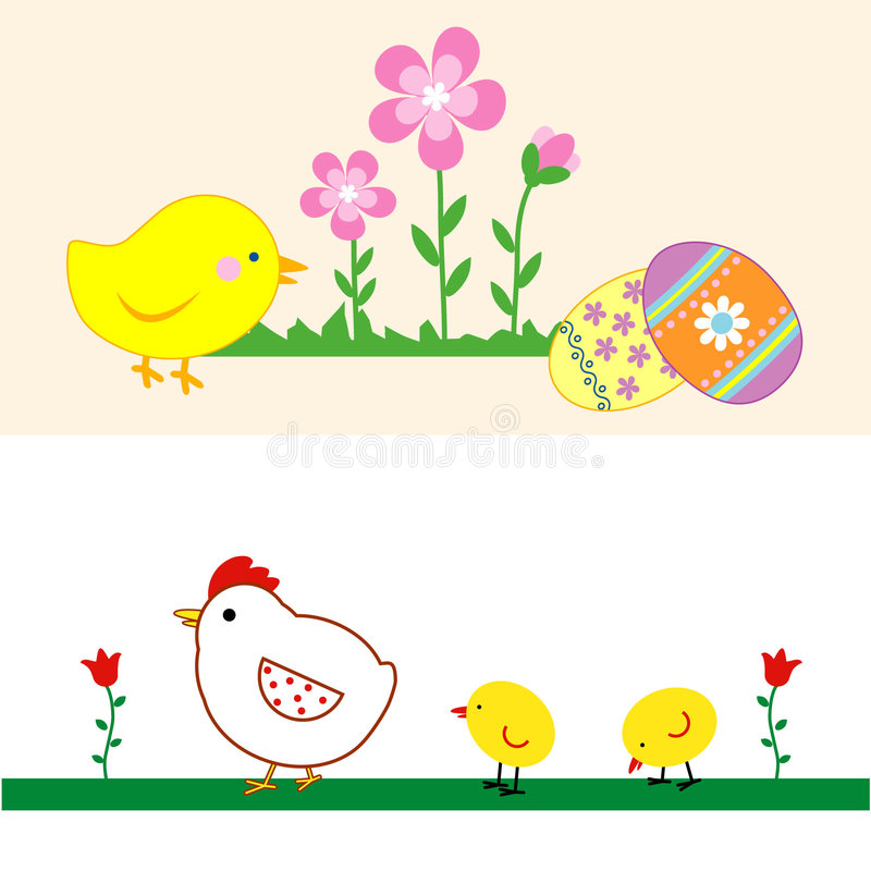 Conjunto de los polluelos lindos de Pascua. ilustración del vector
