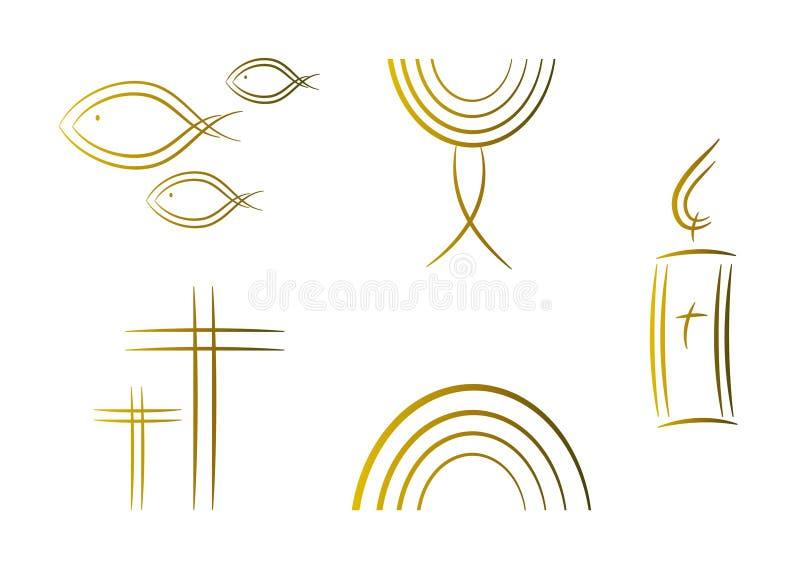 Conjunto de los símbolos religiosos abstractos (oro) ilustración del vector