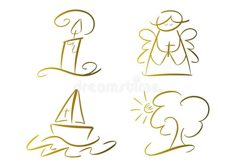 Conjunto de los símbolos religiosos (oro) ilustración del vector