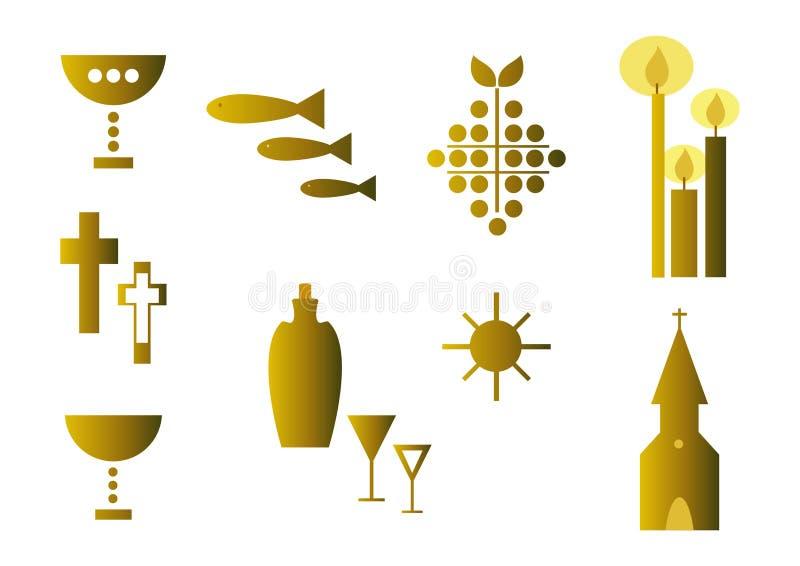 Conjunto de los símbolos religiosos (oro) stock de ilustración