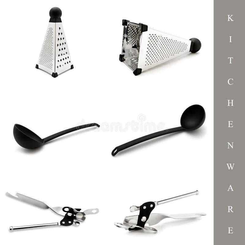 Conjunto de los utensilios de cocina foto de archivo