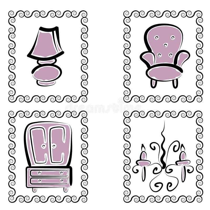 Conjunto de lujo de los muebles stock de ilustración