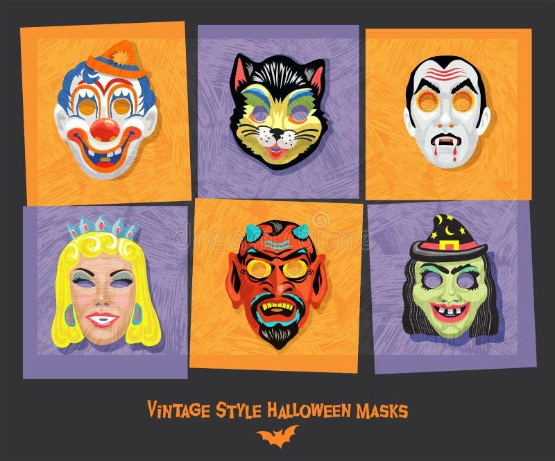 Conjunto de máscaras de estilo vintage halloween incluindo gato preto, palhaço, bruxa e vampiro ilustração do vetor
