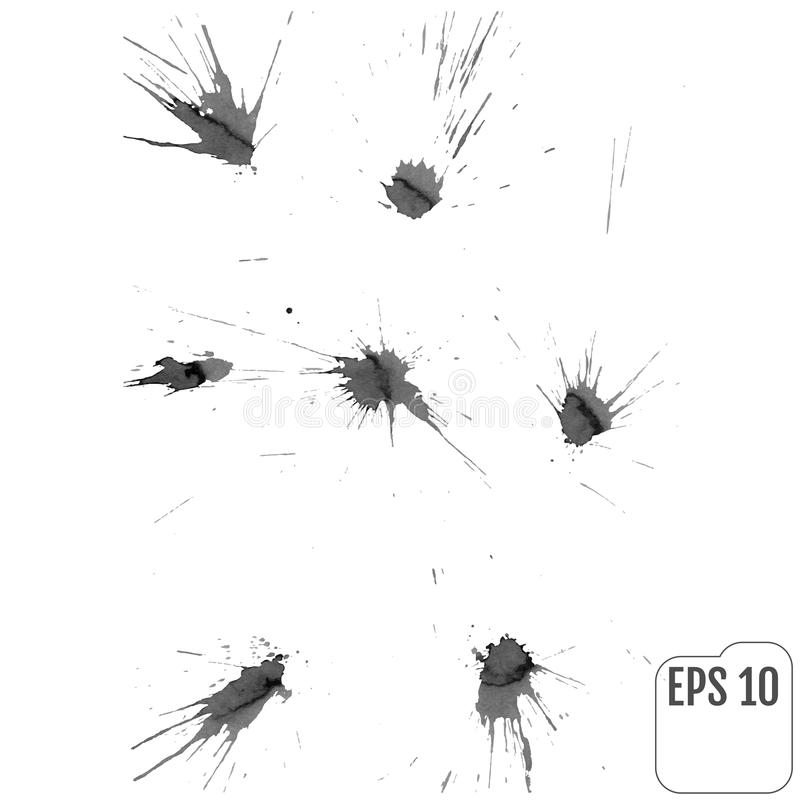 Conjunto de manchas blancas /negras de la tinta Vector ilustración del vector